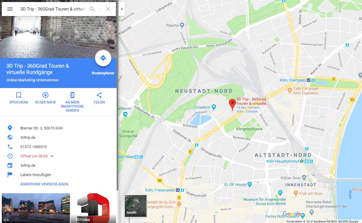Google Maps 3D Trip 360 Grad Touren Köln