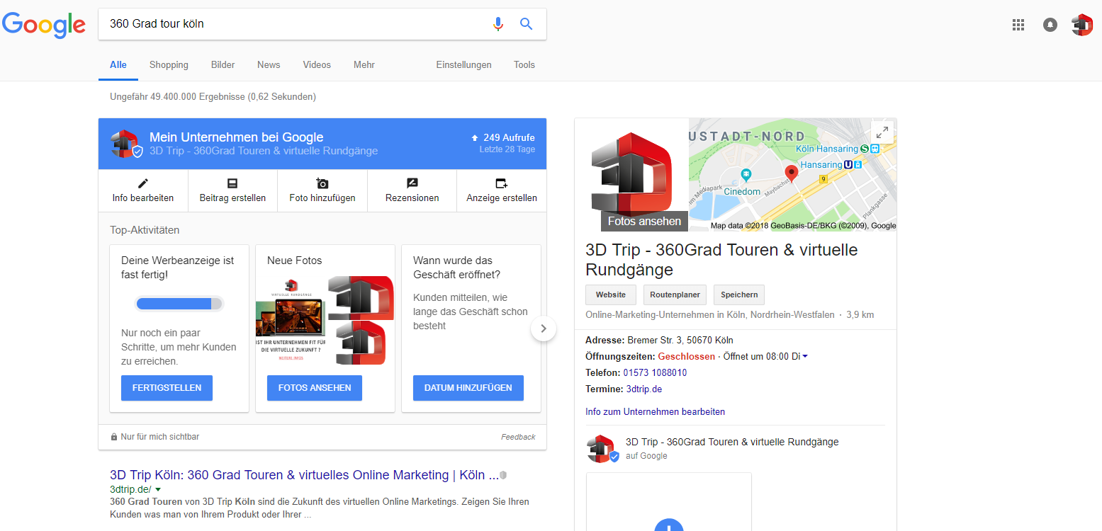 Ranking SEO Google 3DTrip Köln